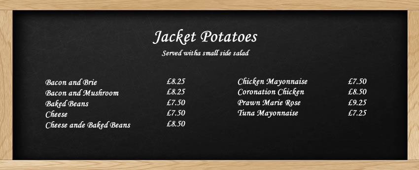 Jacket Potato menu at The Crown in Little Missenden