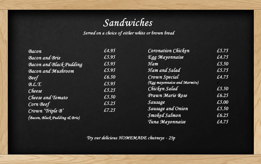 Sandwich menu at The Crown in Little Missenden
